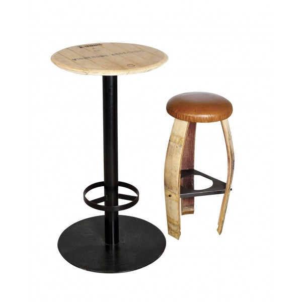 Eco design table in lacquered steel and solid oak from - Table mange debout ronde ...
