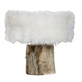 Charming Unique Designer Table Lamp In Fake Fur Steel And