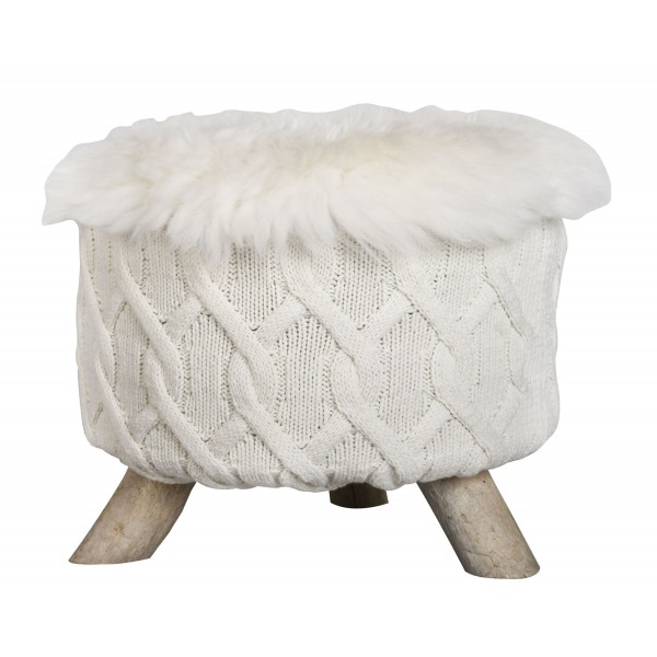Eco Design Driftwood Natural Sheepskin And Knitted Wool